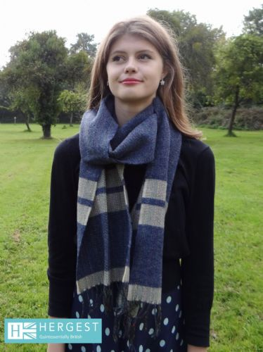 Pure Wool Blue Scarf with Cream Stripes